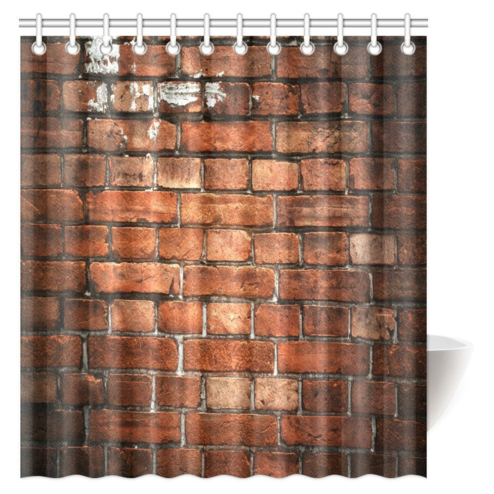 GCKG Rustic Home Decor Shower Curtain Ancient Retro Old Fashioned Uneven Red Brick Wall Fabric Bathroom Set With Hooks 66x72 Inches