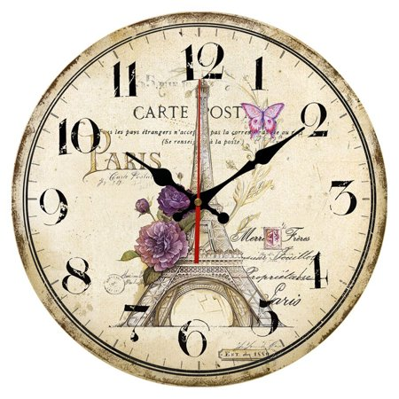 12 Inch Vintage Rustic Country Tuscan Style Silent Wall Clock Home Decor - Type F (Tuscan Style Clock)