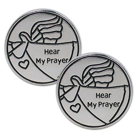 - Pocket Prayer Angel Tokens Hear My Prayer Messenger Angel with Heart - Set of 2 - Metal - 1.25 Inch