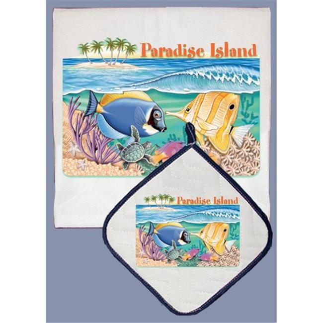 Pipsqueak Productions DP803 Blue Surgeon And Butterfly Fish Dish Towel And Pot Holder Set