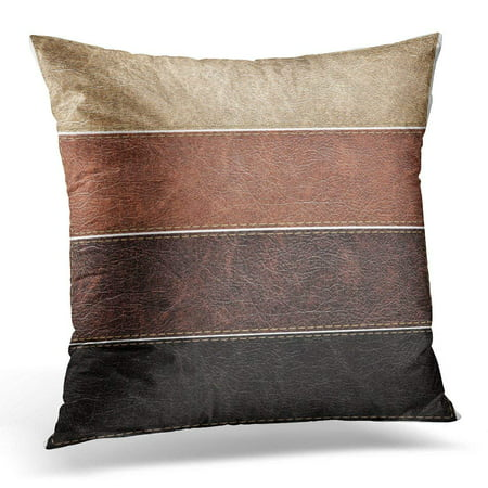 ARHOME Beige Stitch of Leather Labels Brown Suede Pillows case 16x16 Inches Home Decor Sofa Cushion Cover Brown Leather Pillow Top Sofa