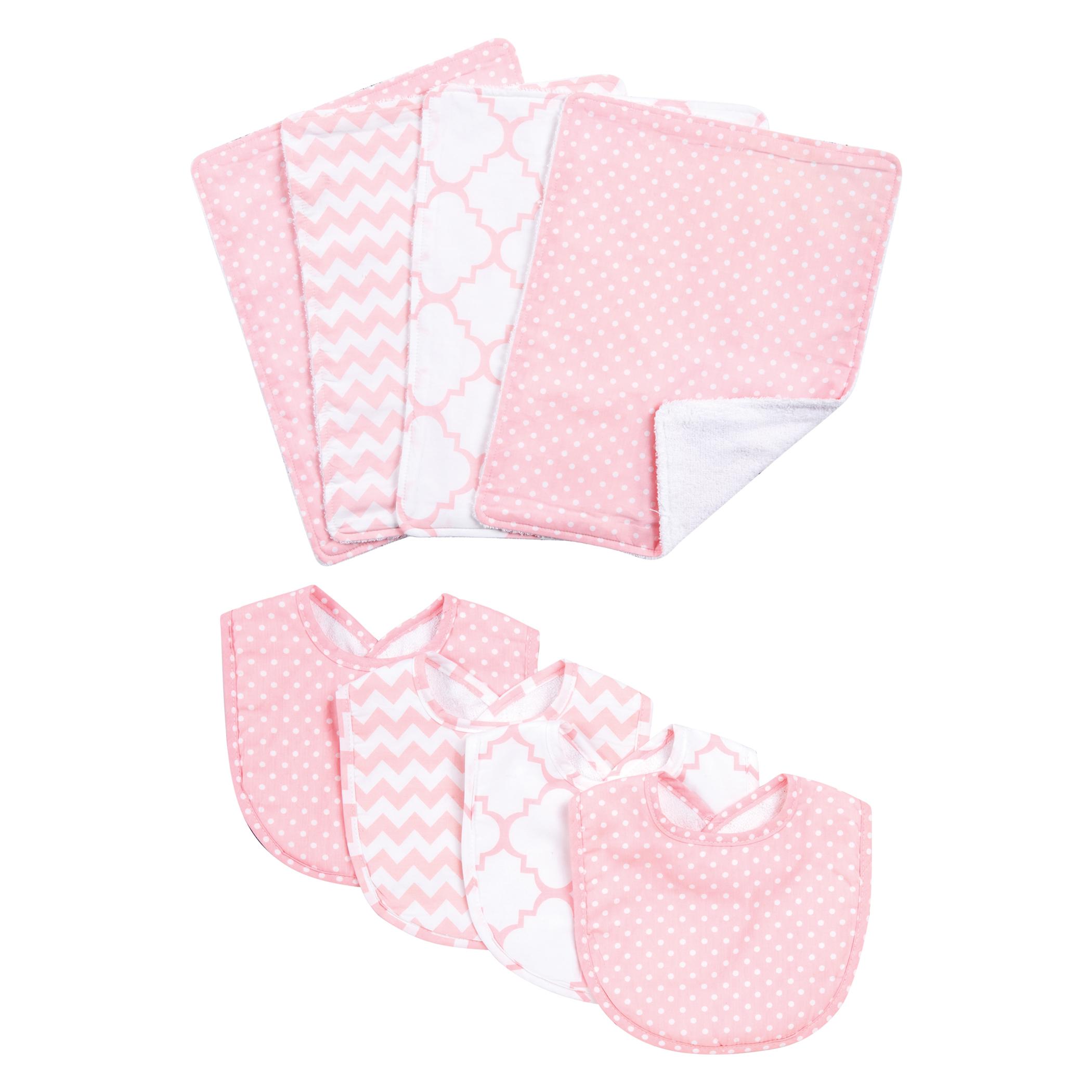 Pink Sky 8 Piece Bib and Burp Cloth Set
