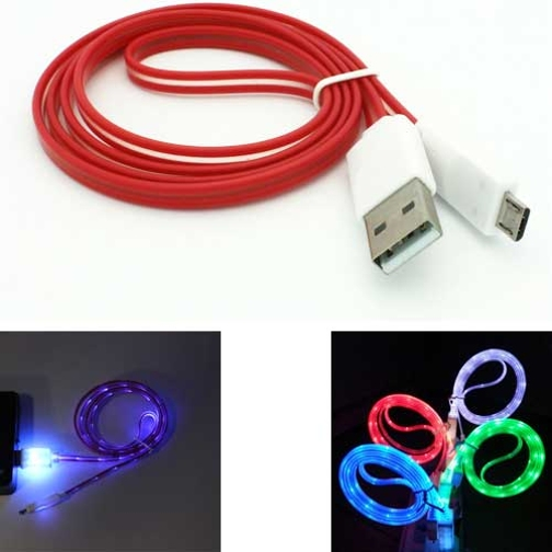 Red Flat USB Cable with Glowing Light Data Charge Wire Micro-USB Sync Power Cord 3ft 7D for Samsung Galaxy Tab 4 NOOK 10.1 (SM-T530) 7.0 (SM-T230) E NOOK 9.6 (SM-T560) S2 NOOK 8.0 (SM-T710)