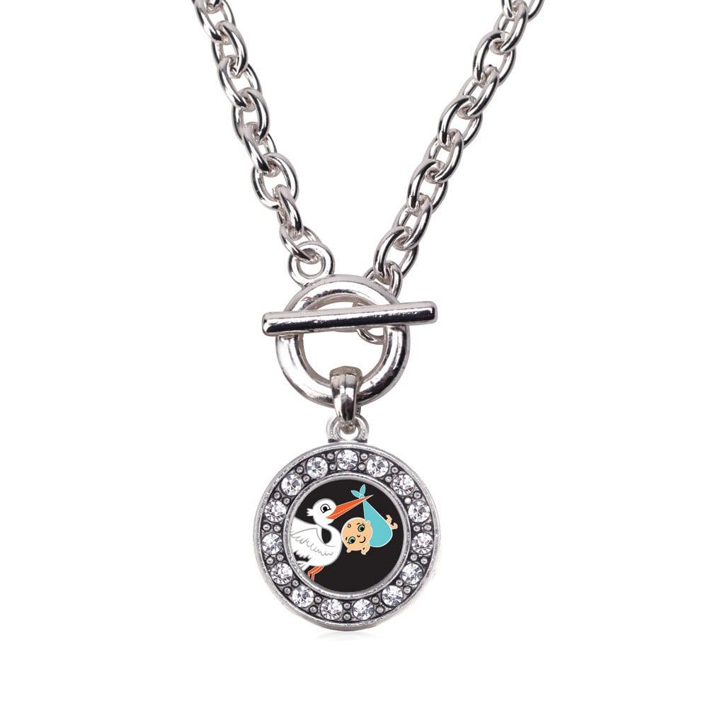 Stork Brings A Boy Circle Charm Toggle Necklace
