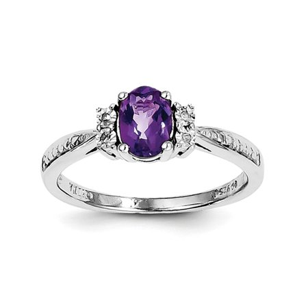 Amethyst Diopside Ring - Sterling Silver Polished Prong set Open back Rhodium-plated Diamond and Amethyst Ring - Ring Size: 6 to 9