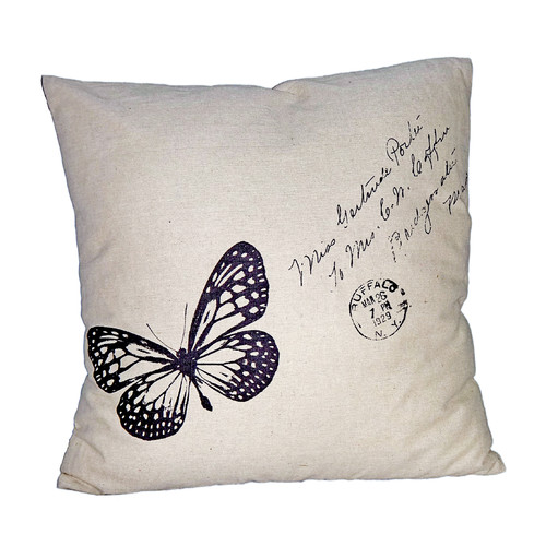 Cheungs Butterfly Linen Throw Pillow