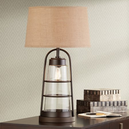 Franklin Iron Works Industrial Table Lamp with Nightlight Bronze Cage Glass Lantern Brown Burlap Shade for Living Room Family