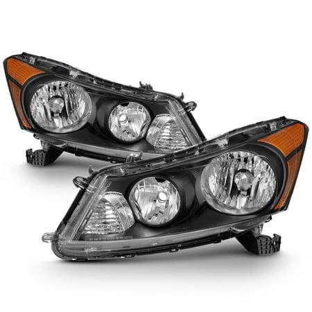 Fit 2008-2012 Honda Accord 4-Door Sedan Black Headlights L+R Lamp