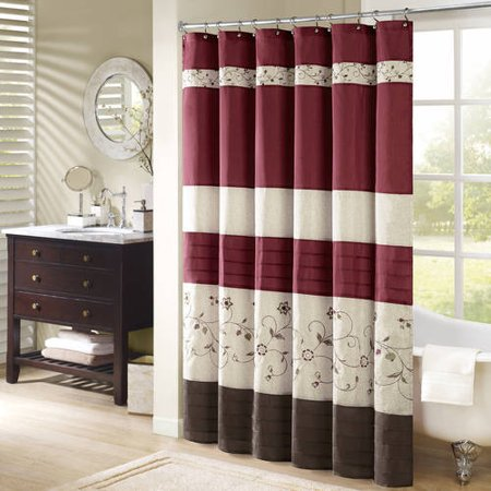 Monroe Embroidered Floral Shower Curtain Red/White