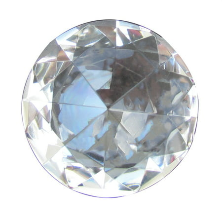 Optical Crystal Diamond Paperweight - Big 60mm Crystal Clear 60 mm Cut Glass Large Giant Diamond Jewel Paperweight Gem