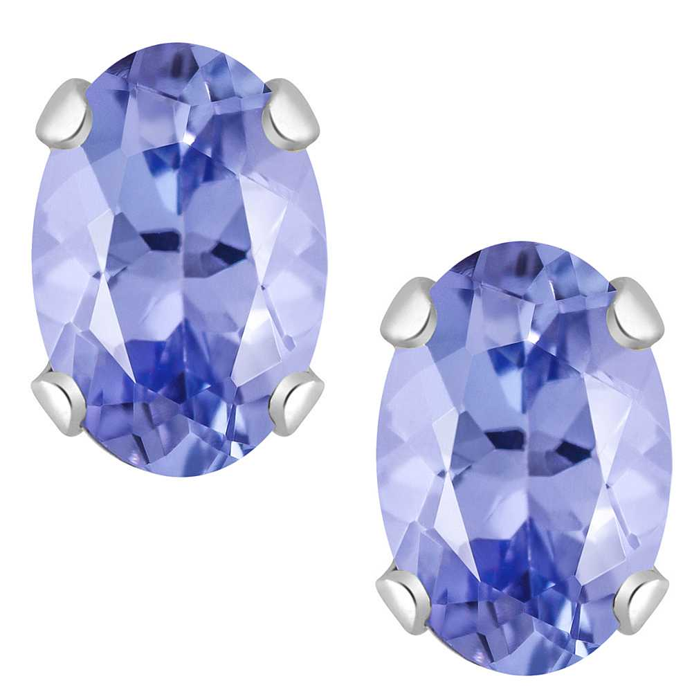 1.00 Ct AAA Oval 6X4mm Genuine Tanzanite Solid 14K White Gold Stud Earrings