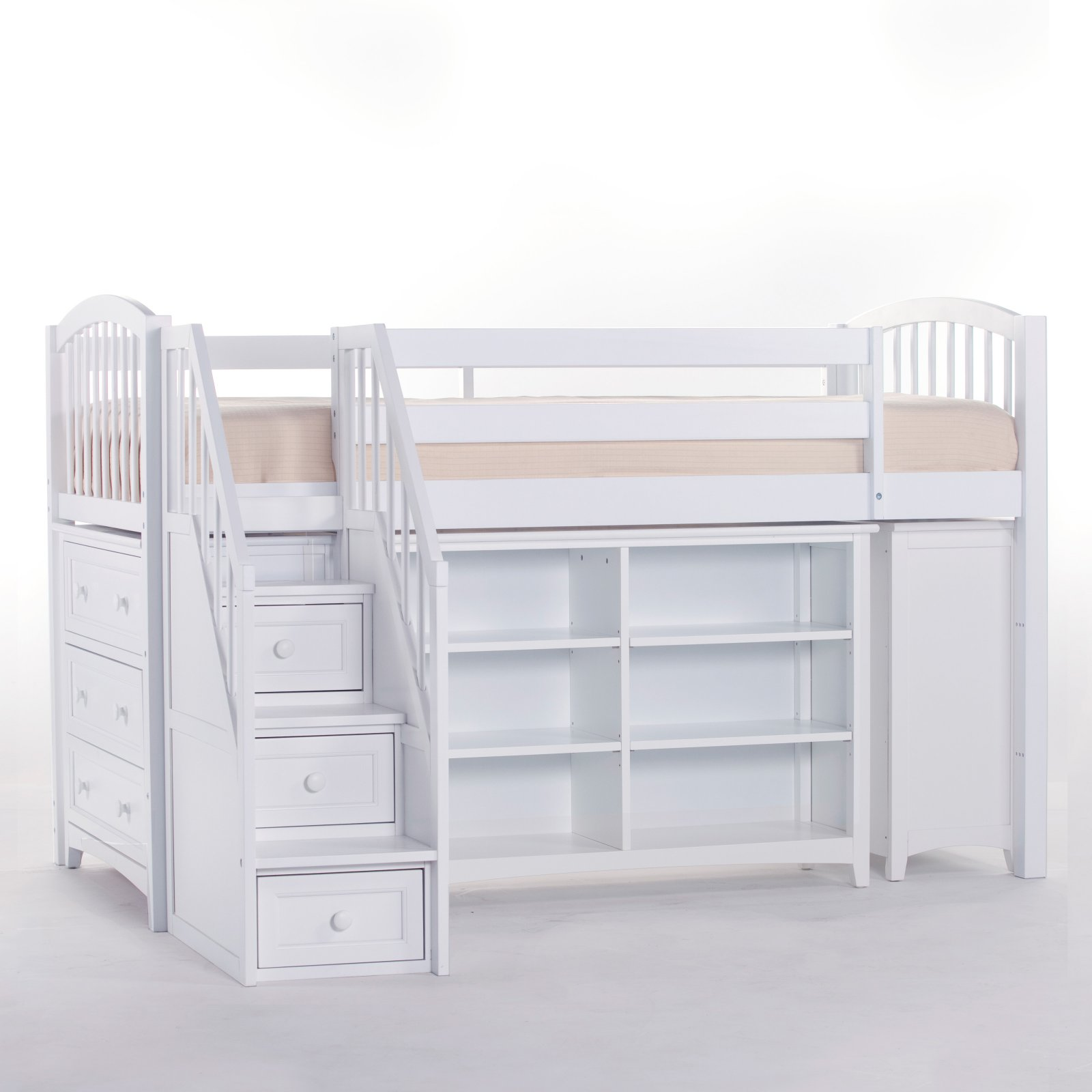 Hillsdale School House Storage Junior Loft With Stairs, White
