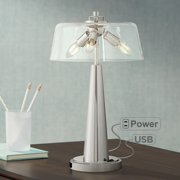 Possini Euro Design Cagna Modern Led Table Lamp With Usb Port And Outlet