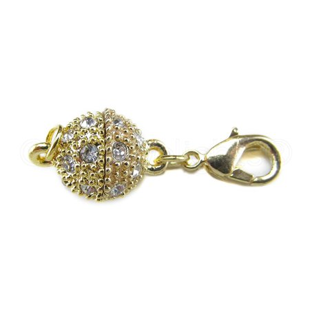 Lobster Ball Machines - 20 Pack - CleverDelights Magnetic Jewelry Clasps - Rhinestone Ball Style + Lobster Clasp - Gold Color