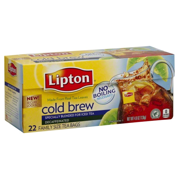 Lipton Cold Brew Decaffeinated tea bags Family Black Iced Tea Unsweetened 22 ct