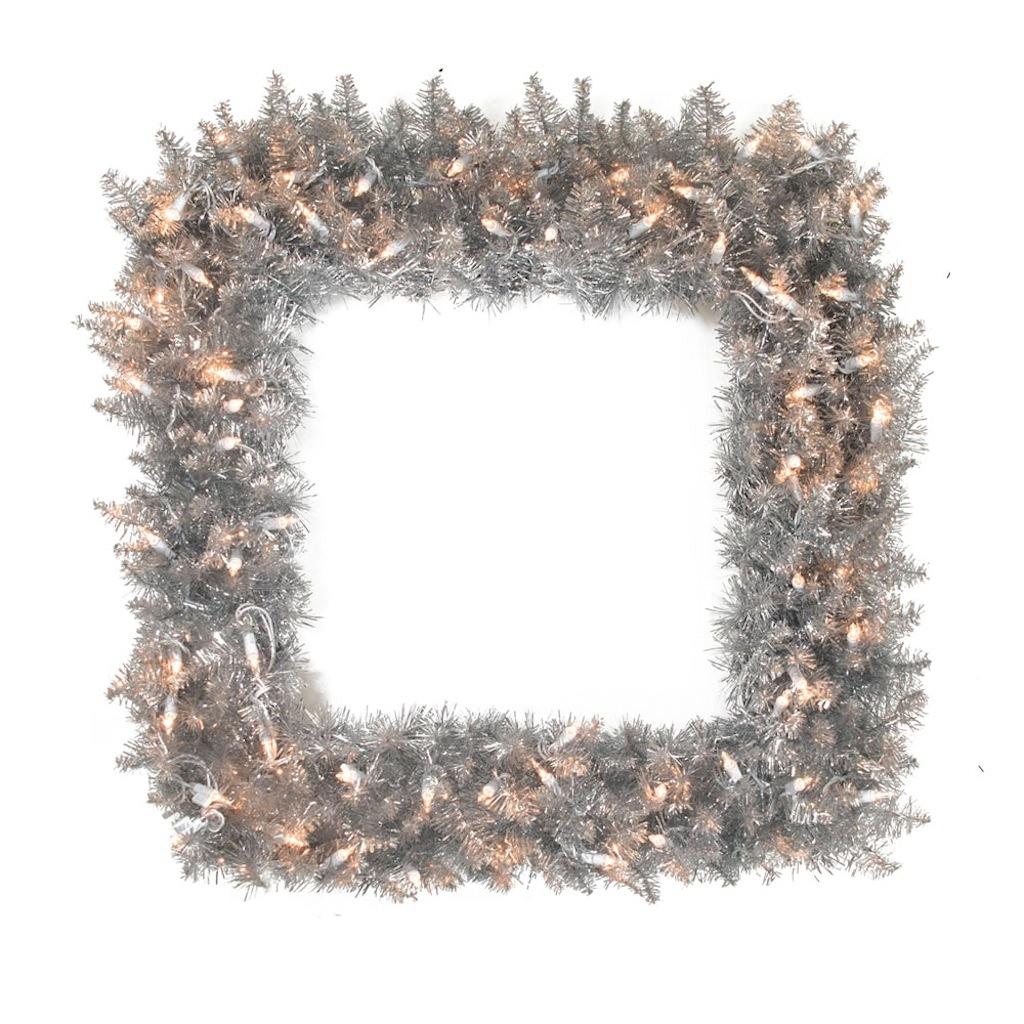 "Vickerman 327618 - 30"" Silver Fir Square 70 Clear Miniature Lights Christmas Wreath (K126984)"