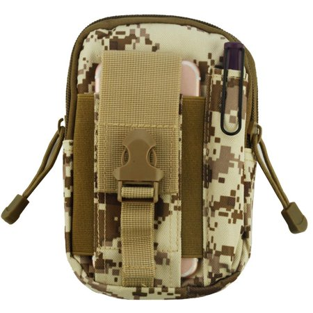Heavy Duty Canvas Sports Activity Waist Pack Pocket Belt for OnePlus 5T, 5, 3T, OnePlus 3, 2, One, X (Desert Camo) + MND Mini Stylus