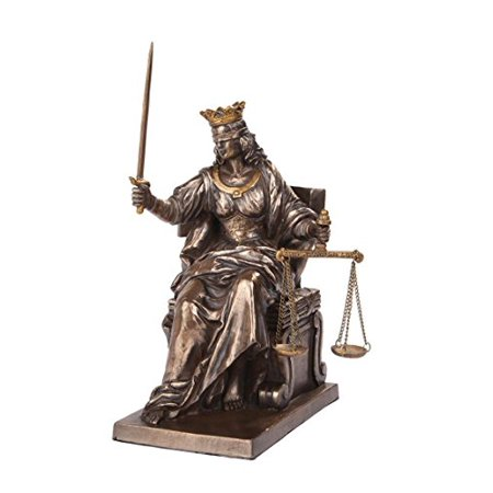Enthroned Seated La Justica Lady Justice Dike Statue 9