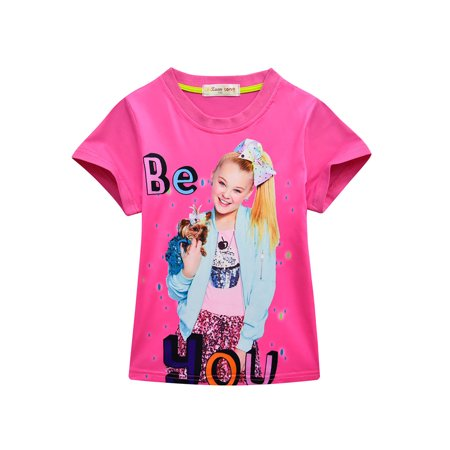 JoJo Siwa T-Shirt Tops Short Sleeve Printed Children's Wear Pajamas Shorts Jeans Two-Piece Suit Casual Clothes for (Best Casual Wear Brands)