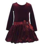 Little Girls Burgundy Stretch Velvet Bow Bubble Occasion Dress 2T-6