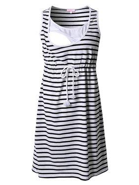 118d979d0fae Product Image Jchiup Women's Summer Chic Stripes Sleeveless Maternity  Nursing Dress for Breastfeeding