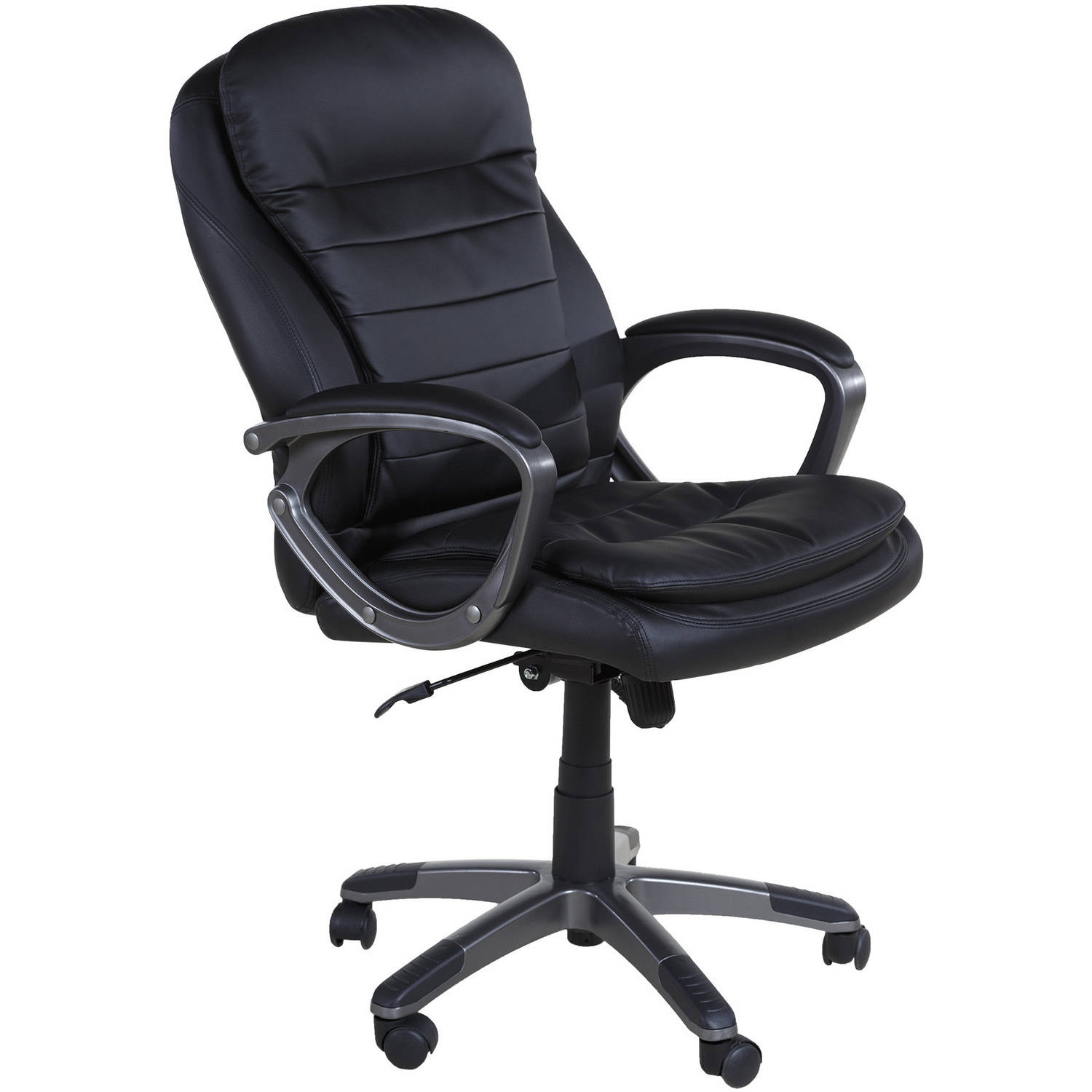 OneSpace 60-2383 Leather Executive Pillow Top Chair with Padded Armrests
