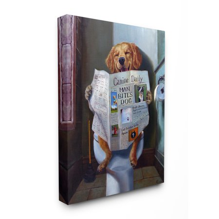 The Stupell Home Decor Collection Dog Reading the Newspaper On Toilet Funny Painting Stretched Canvas Wall Art, 16 x 1.5 x 20 ()