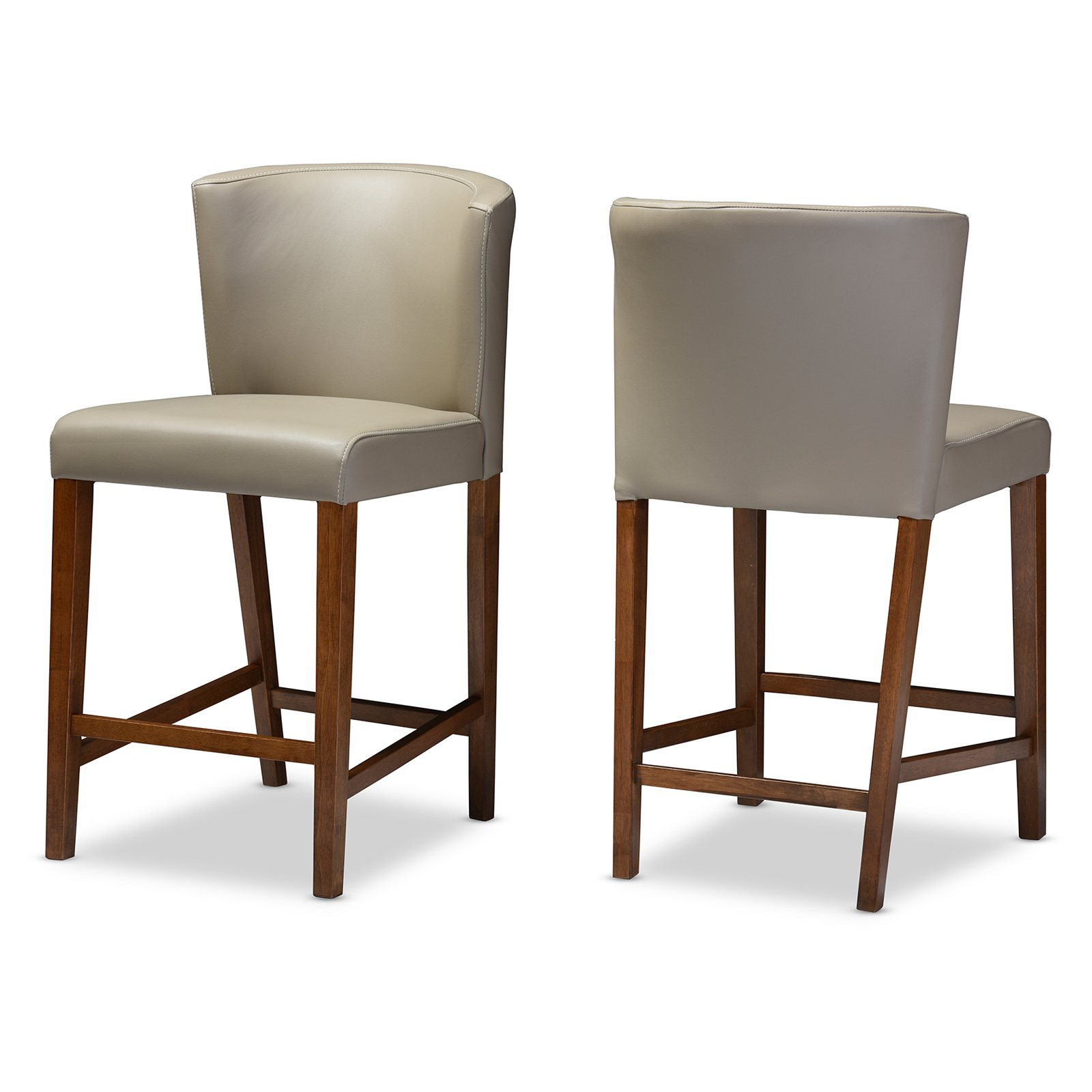 Baxton Studio Olivia Mid-Century Modern Scandinavian-Style Dark Walnut Wood Gray Faux Leather Pub Stools, Set of 2