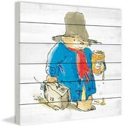 Paddington Bear Sticky Bear Art Print on White Pine Wood