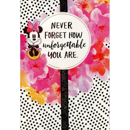 Hallmark Minnie Mouse Black Dots and Pink Flowers and Ribbon Handmade Disney Birthday Card for Daughter - Minnie Mouse Thank You Cards