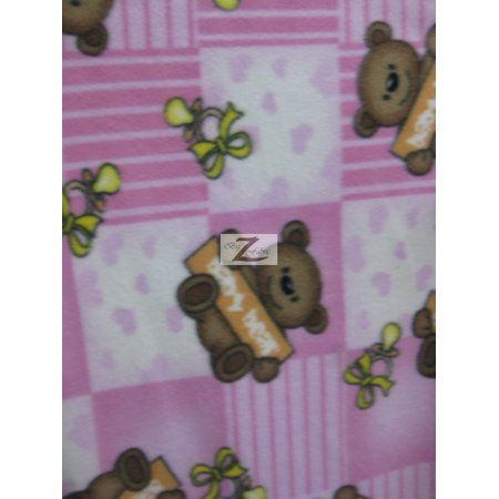 Fleece Printed Fabric Animal Bear / Baby Bear / Sold By The Yard