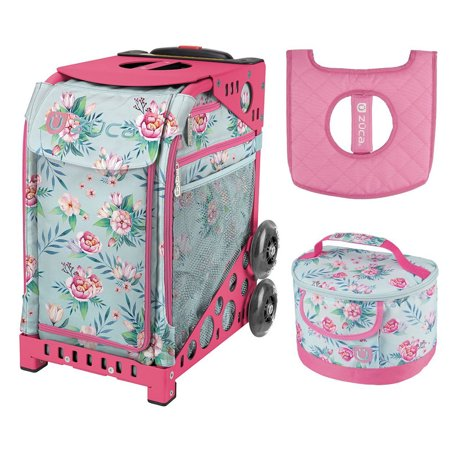 Zuca Blooms Sport Insert Bag with Pink Frame and Lunchbox with Seat Cushion ()