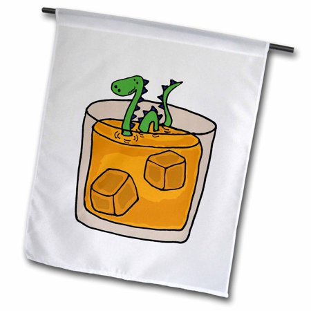 3dRose Funny Loch ness Monster in Scotch Whiskey Glass, Garden Flag, 12 by 18-Inch