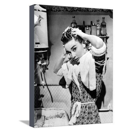 Audrey Hepburn Washing Hair Portrait Stretched Canvas Print Wall Art By Movie Star News
