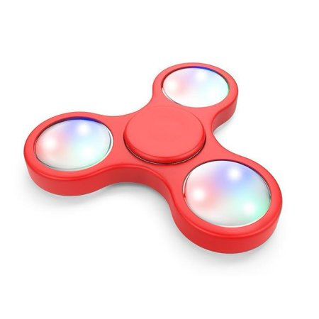 LED Colorful Lights Fidget Spinner - Hand Spin Focus Fidget Toy, Stress Reliever, ADHD, EDC, Anxiety Reducer Hand Spinner - Red