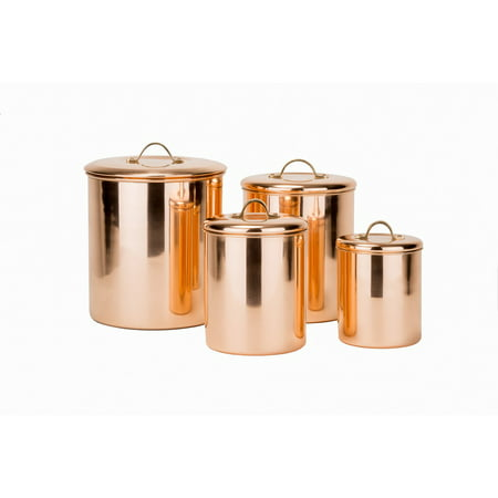 4 Piece Polished Copper Canister Set w/Brass knobs - 4qt, 2qt, 1? Qt, 1 Qt