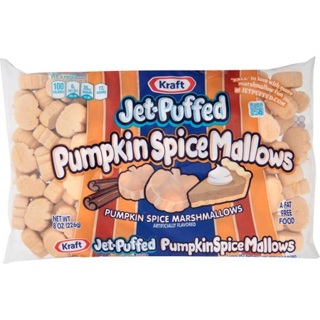 (3 Pack) Jet-puffed Pumpkin Spice Marshmallows Seasonal Treat, 8 oz Bag