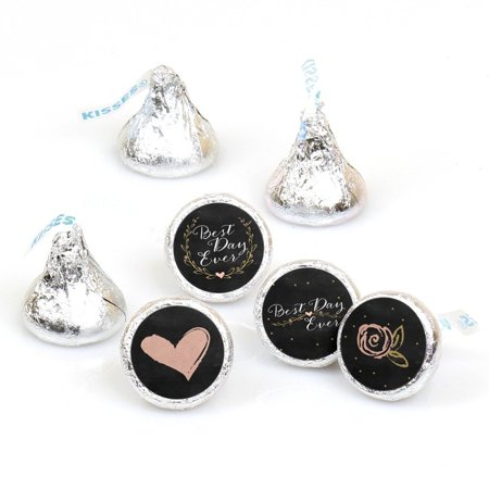 Best Day Ever - Bridal Party Round Candy Sticker Favors - Labels Fit Hershey's Kisses (1 sheet of 108)