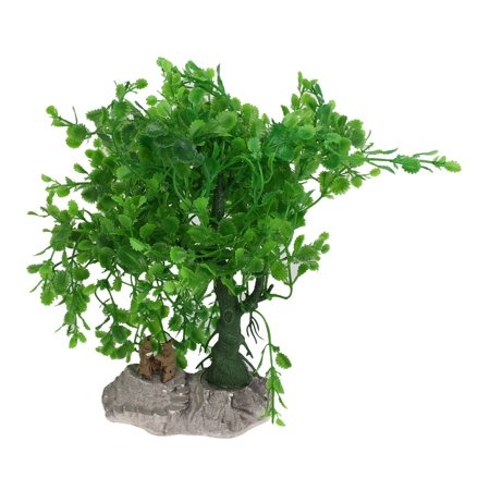 Emulational Plastic Drooping Tree Aquascape Decoration Green w Ceramic Base