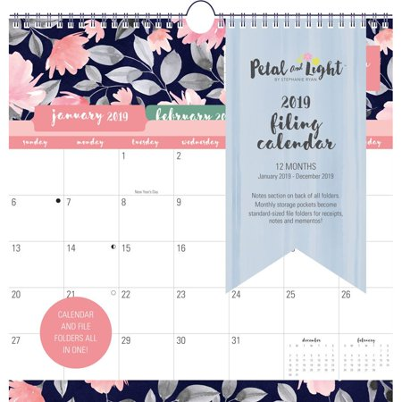 2019 petal light 2019 file wall calendar pocket wall by leap year publishing