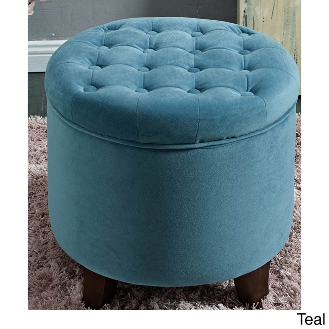 HomePop Large Round Button Tufted Storage Ottoman Velvet Tufted Teal