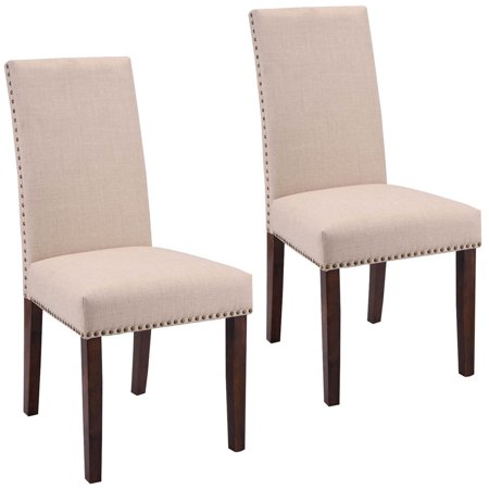 high back upholstered dining room chairs | Costway Set Of 2 Dining Chairs Fabric Upholstered High ...