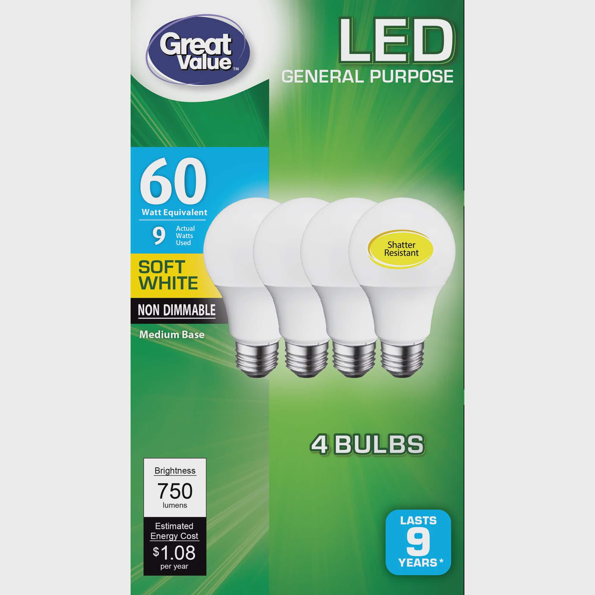 Great Value Led Light Bulb 9 Watts 60w Equivalent A19 General Purpose Lamp E26 Medium Base Non Dimmable Soft White 4 Pack Walmart Com Walmart Com