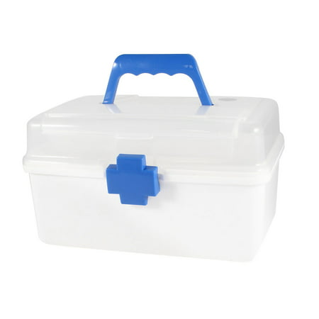 Blue Button Plastic First Aid Kits Care Holder Box Storage Case