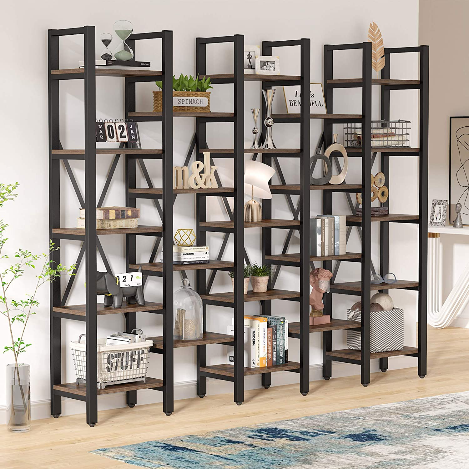 Tribesigns 86 Inch Large Open Bookcase Industrial 5 Tier Booksheklf With 23 Shelves Rustic 5 Shelves Etagere Bookcase Storage Shelf Vintage Wood Look Furniturefor Home Office Walmart Com Walmart Com