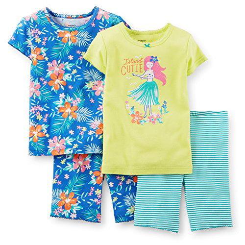 "Carter's Baby Girls' 4-piece Snug Fit Cotton Pjs ""Island Cutie"" -9 Months, Mult"