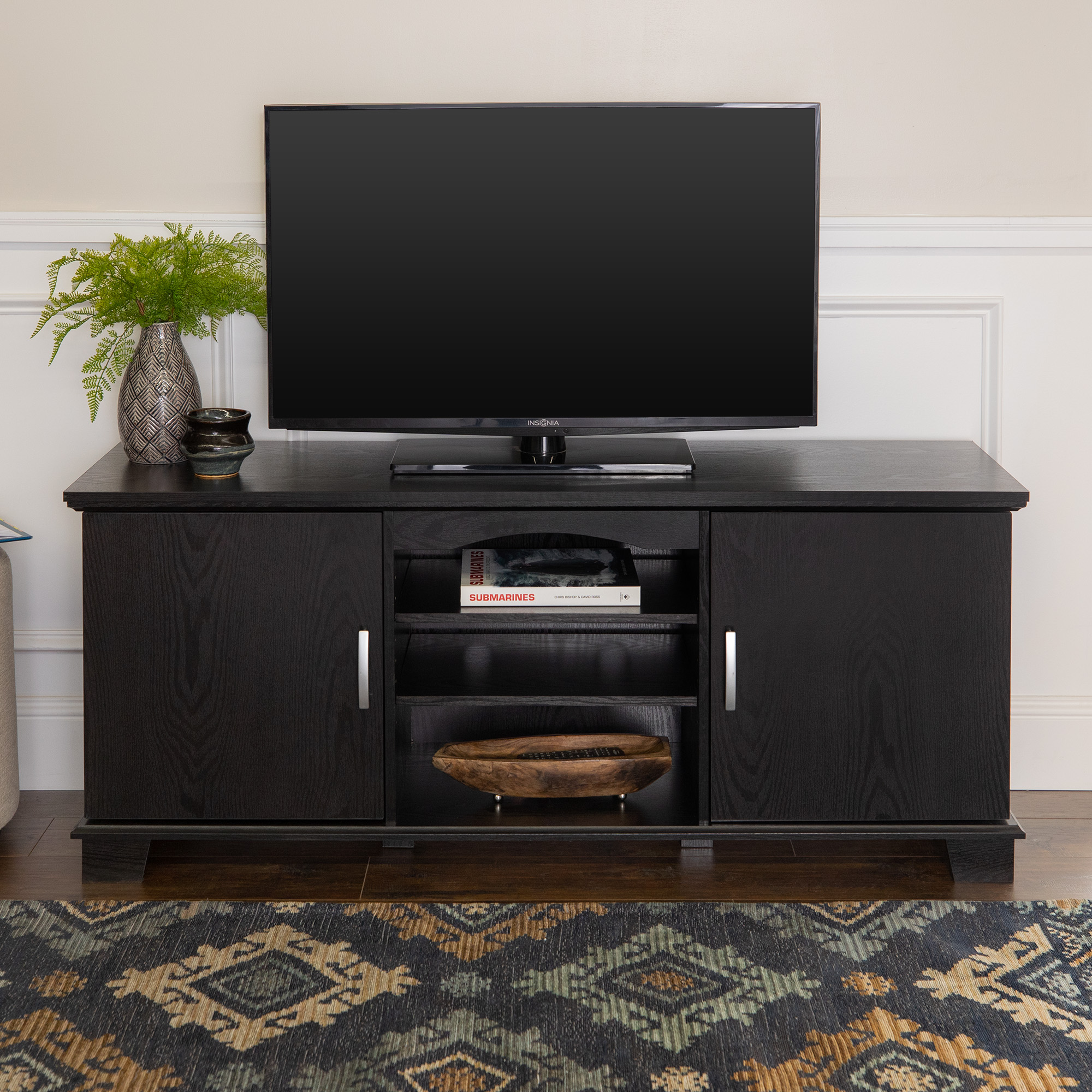 """Walker Edison Black TV Stand for TVs up to 65"""", Multiple Colors"""