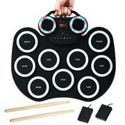 Costway Electronic Roll Up Drum Set 9 Pads MIDI Drum w/ Speaker Headphone & LED Lights