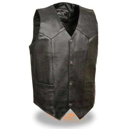 Milwaukee Event Mens Classic Snap Front Biker Vest-Thick Black ()