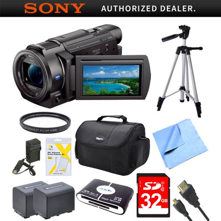 Sony FDRAX33 FDR-AX33 FDR-AX33/B AX33 4K HD Video Recording Handycam Camcorder Bundle With 2 High Capacity Spare Batteries, 32GB High Speed Card, Full Sized Tripod and
